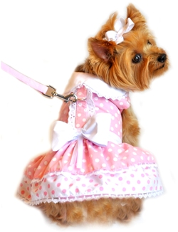 Doggie Design - Pink Polka Dot and Lace Harness Dress with Matching Leash - This adorable Pink Polka Dot and Lace Harness Dog Dress comes with a matching Leash.  Velcro closures.  D-ring below collar, above large white bow.