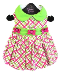 "Doggie Design - Plaid Lady Bug Harness Dress - Too cute!!!  Made from a high quality cotton blend fabric in Lime and Hot Pink.  Waistband embellished with tiny bows and ladybug buttons in the center.  Re-enforced D-Ring for easy leash attachment.  High Quality Heavy Duty Hook and Loop Closures and High Strength D-Rings make it possible to ""Pick Your Dog Up by the leash"" and keep them from harms way."