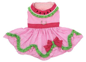 Doggie Design - Watermelon Harness Dress - Features D-Ring, Embroidered Seed Collar with Ric-Rac and Ruffle, Coordinating Pink Polka Dot Bow and Waistband, and adorable Ruffle Skirting.  Velcro closures at neckline and belly.