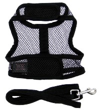 Doggie Design - Cool Mesh Harness with Matching Leash - Black - COOL and LIGHTWEIGHT with EASY to put on and off Velcro Closures.  Features Nylon Core D-Ring Sewn on Strip.  Matching Leash included. A very important quality feature is the High Strength Heavy Duty Velcro that will not open - you can even lift your dog in the air to keep them out of danger and harms way.
