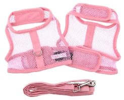 Doggie Design - Cool Mesh Harness with Matching Leash - Pink - COOL and LIGHTWEIGHT with EASY to put on and off Velcro Closures.  Features Nylon Core D-Ring Sewn on Strip.  Matching Leash included. A very important quality feature is the High Strength Heavy Duty Velcro that will not open - you can even lift your dog in the air to keep them out of danger and harms way.