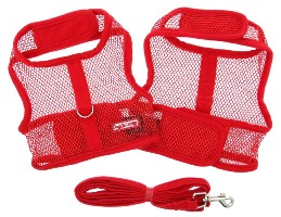 Doggie Design - Cool Mesh Harness with Matching Leash - Red - COOL and LIGHTWEIGHT with EASY to put on and off Velcro Closures.  Features Nylon Core D-Ring Sewn on Strip.  Matching Leash included. A very important quality feature is the High Strength Heavy Duty Velcro that will not open - you can even lift your dog in the air to keep them out of danger and harms way.
