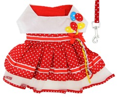 Doggie Design - Red Polka Dot Balloon Harness Dress with Matching Leash