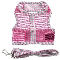 Doggie Design - Cool Mesh Harness with Matching Leash - Pink and Green Seersucker Plaid - COOL and LIGHTWEIGHT with EASY to put on and off Velcro Closures.  Features Nylon Core D-Ring Sewn on Strip.  Matching Leash included. A very important quality feature is the High Strength Heavy Duty Velcro that will not open - you can even lift your dog in the air to keep them out of danger and harms way.