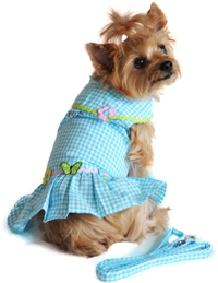 Doggie Design - Turquoise Gingham Flower Harness Dress with Matching Leash