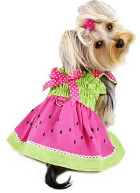 "Klippo Pet - Juicy Watermelon Sundress with D-Ring - Adorable and juicy watermelon sundress with attached large D-ring for easy leash attachment!  Accented with hot pink ribbon with white polka dots on the shoulder straps and a matching bow on the back.  A small D-Ring attached near the neck area to add on a ""Klippo"" charm or ID tag! (Each outfit comes in its own Klippo logo charm.)."
