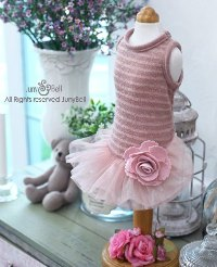 "Juny Bell - Irin - This beautiful dress sparkles with gold-threaded ""indy pink"" polyester knit.  Big gorgeous flower corsage accents the glamorous tulle tutu."